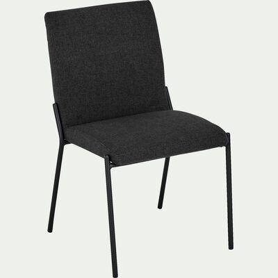 Chaise en tissu noir pieds noirs-JASPE