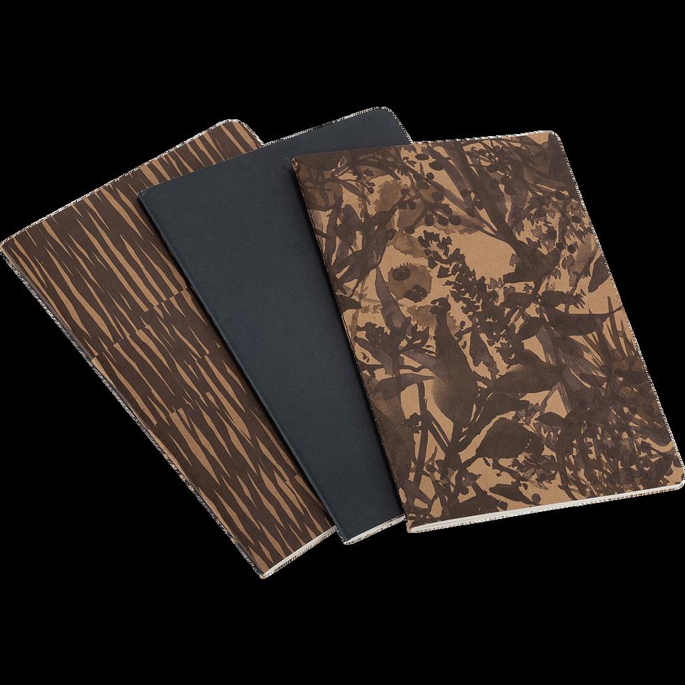 Lot de 3 carnets A5 à motif - marron-OUMBRUN