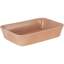 Plat à four rectangulaire en grès rose argile 32x20cm-ALVARA