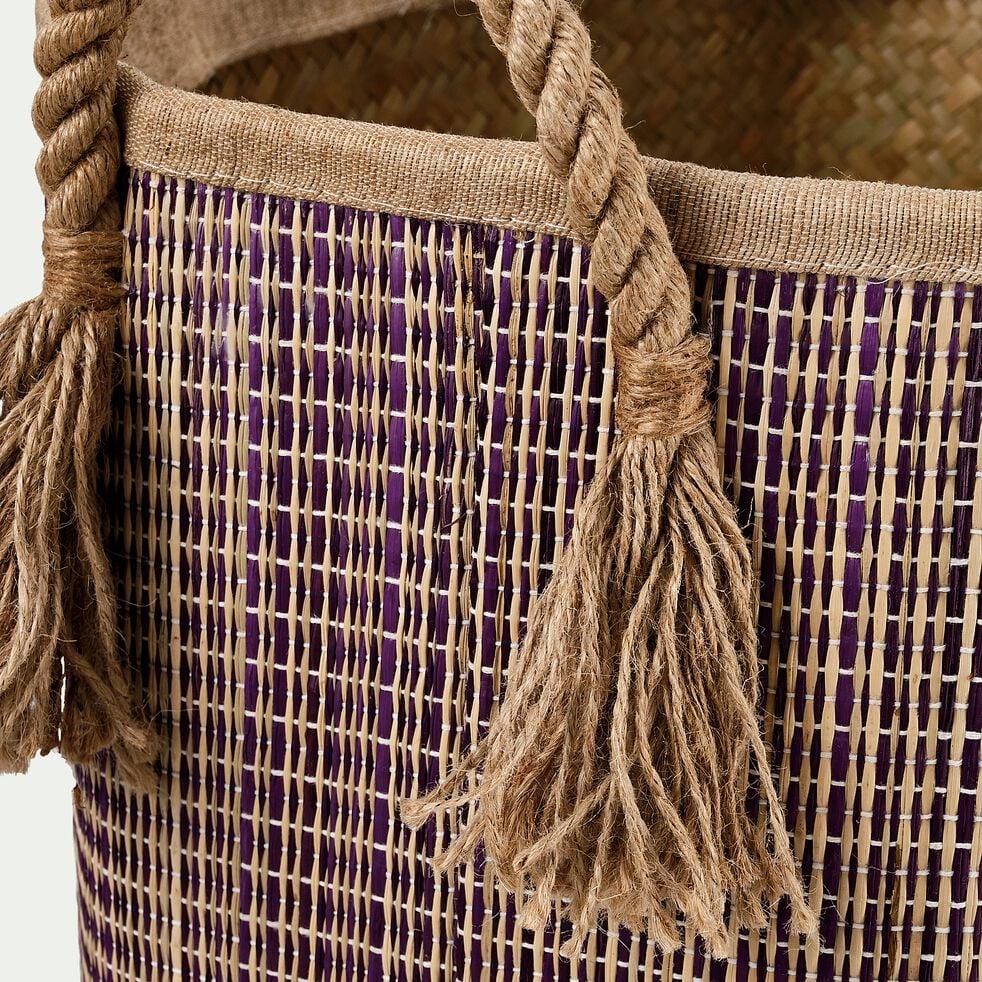 Panier en jonc de mer et jute - naturel et violet D40xH45cm-Remi