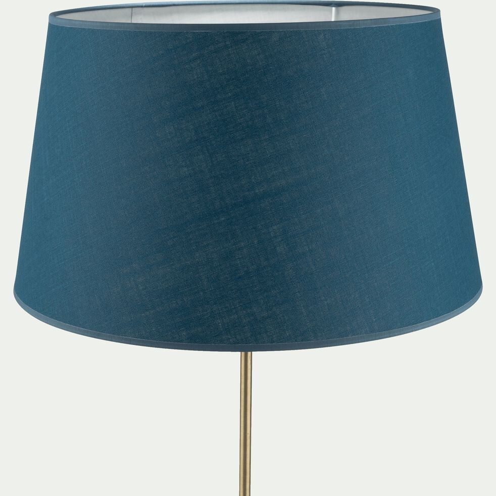 Abat-jour tambour en coton - D45cm bleu figuerolles-MISTRAL