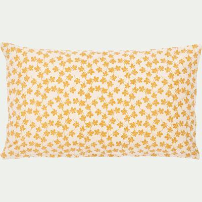 Coussin motifs feuilles beige nèfle 30x50cm-FIGUIER