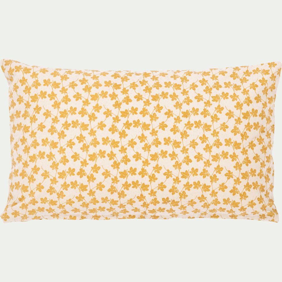 Coussin motif Figuier en coton - beige nèfle 30x50cm-FIGUIER