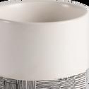 Vase en grès blanc et noir H7,5cm-Kos