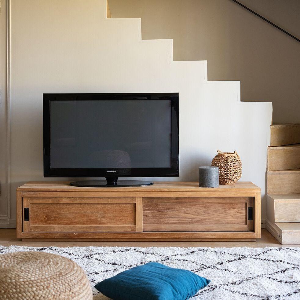 Meuble TV en teck massif recyclé avec 2 portes coulissantes - Livré monté-EMOTION