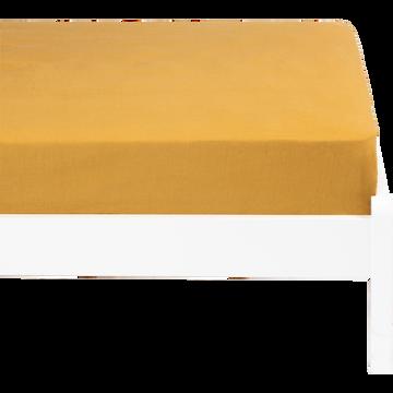 Drap housse lin lavé 90x170 cm beige néfle-VENCE
