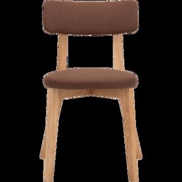 Chaise en tissu marron avec structure bois clair-AMEDEE