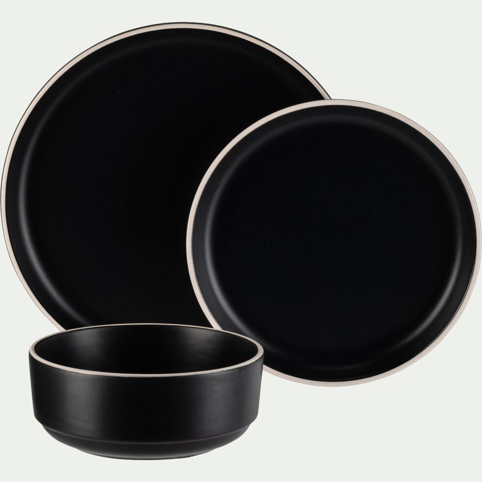 Service de vaisselle en faïence - noir-NIERO