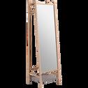 Miroir sur pied en frêne et feutrine Gris clair - H164 cm-THEOULE