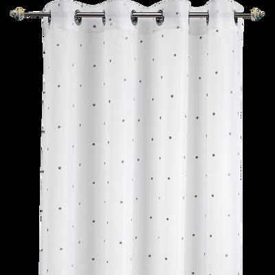Voilage blanc motifs étoiles grises 140x240cm pour enfant-VENUS