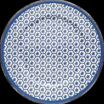 Assiette de présentation en plastique à motifs bleus D33cm-PALMA