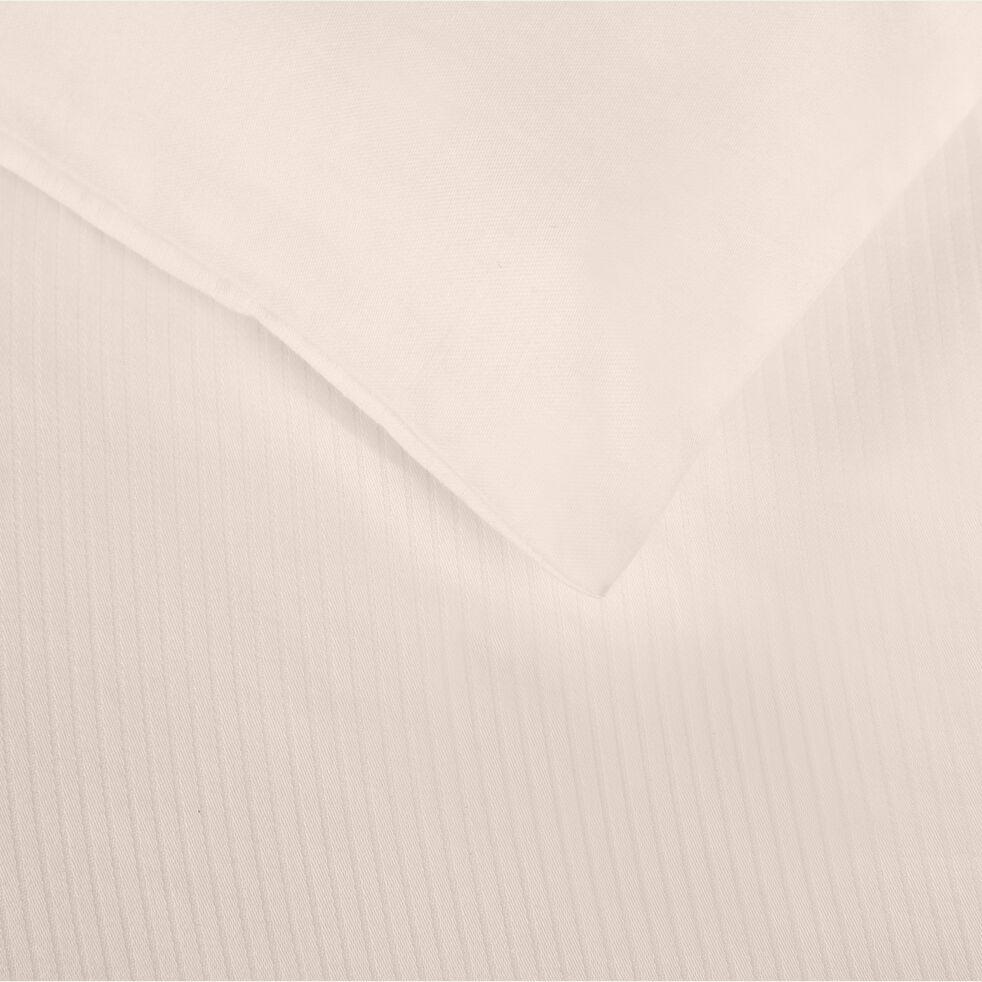 Drap plat rayé en satin de coton - rose grège 270x300cm-SANTIS