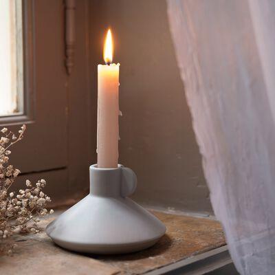 Bougeoir en céramique - gris D13xH8cm-GRETA