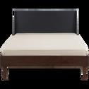 Lit 2 places avec tête de lit en hévéa massif - 160x200 cm-TAKEO