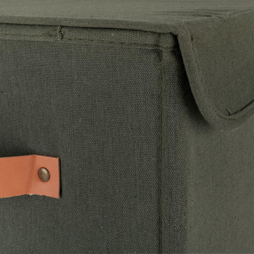 Panier à linge double en polycoton - vert cèdre H60xL50cm-ERRO