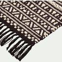 Tapis inspiration aztèque en coton - noir et blanc 60x90cm-OSSA