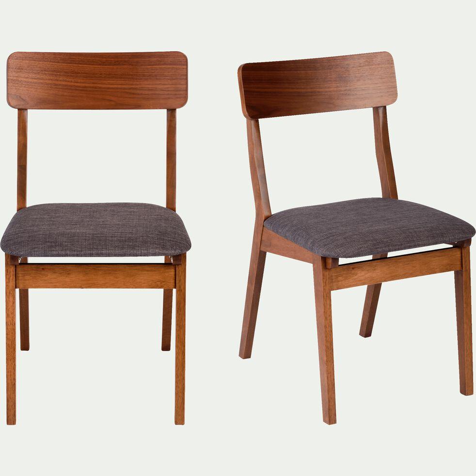 Chaise en tissu gris foncé plaquée noyer-TAMARIS