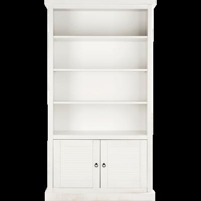 Bibliothèque 3 tablettes 2 portes en pin brossé blanc-LOUISE