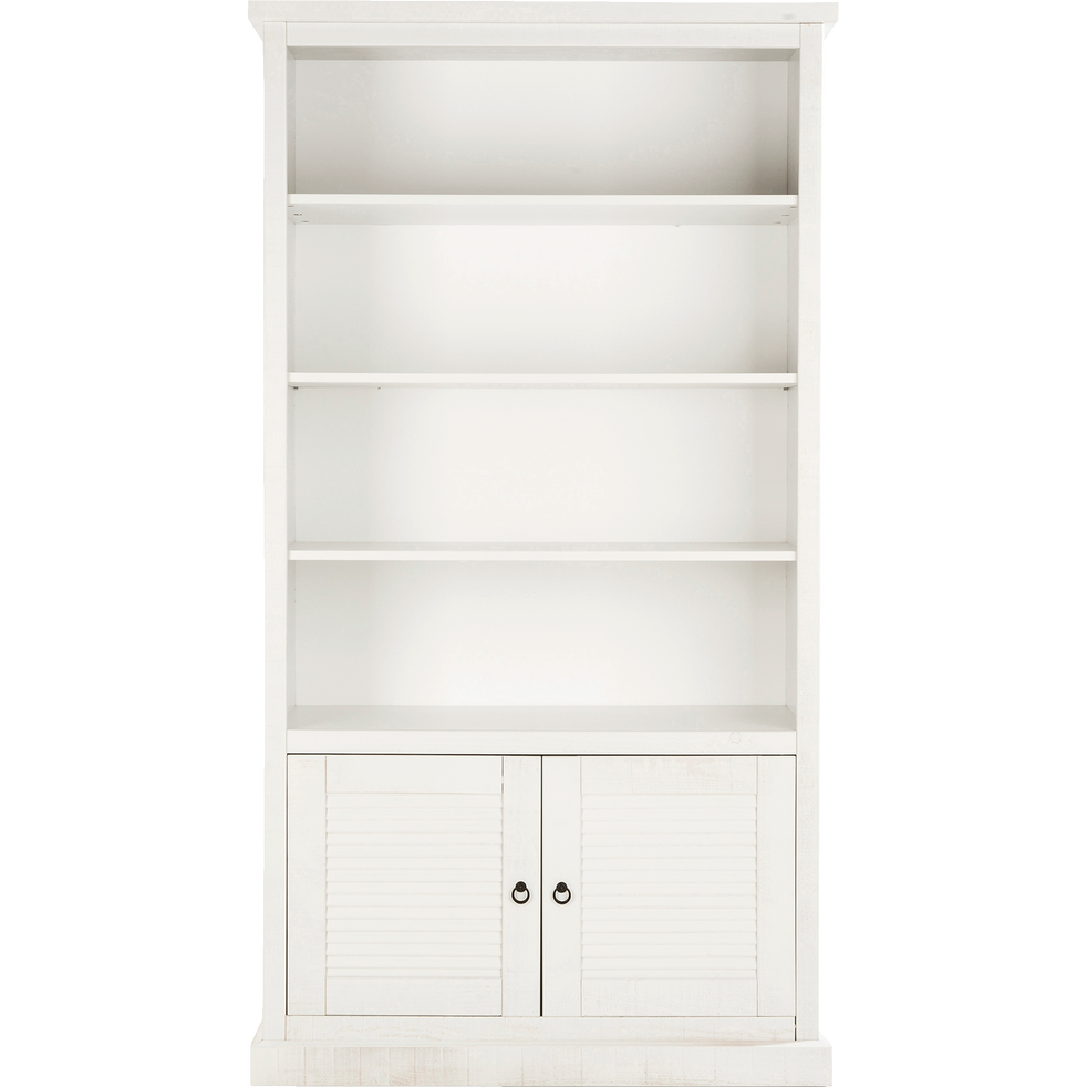 biblioth que 3 tablettes 2 portes en pin bross blanc louise biblioth ques et tag res alinea. Black Bedroom Furniture Sets. Home Design Ideas