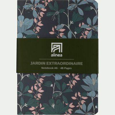 Carnet format A6 motif floral bleu-Jardin extr