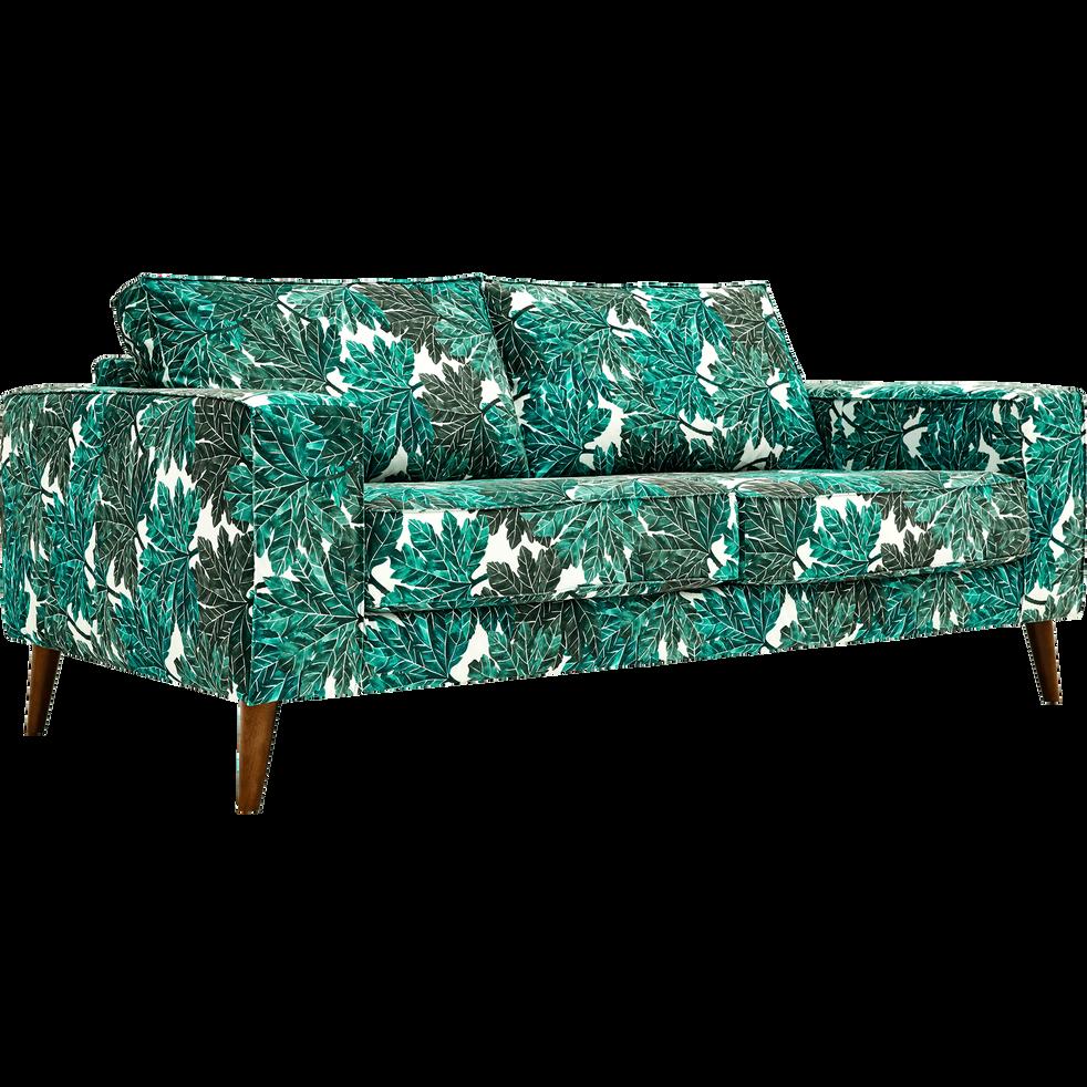 Canapé 3 places fixe en tissu motifs corfou.30-CALIFORNIA