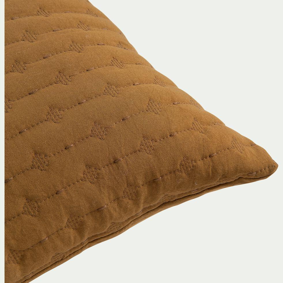 Coussin en tissu surpiqué - jaune alep 45x45cm-BENITO