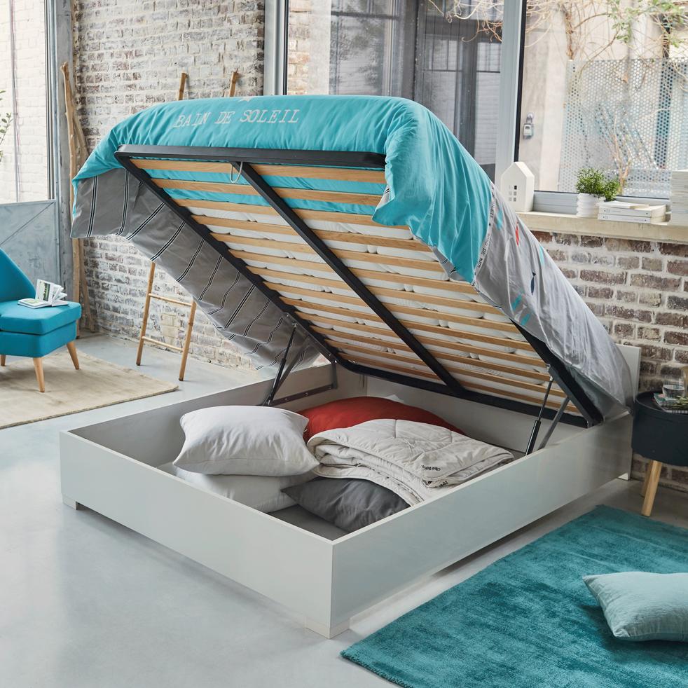 lit coffre 2 places avec sommier blanc 160x200 cm bello 160x200 cm lits coffre alinea. Black Bedroom Furniture Sets. Home Design Ideas