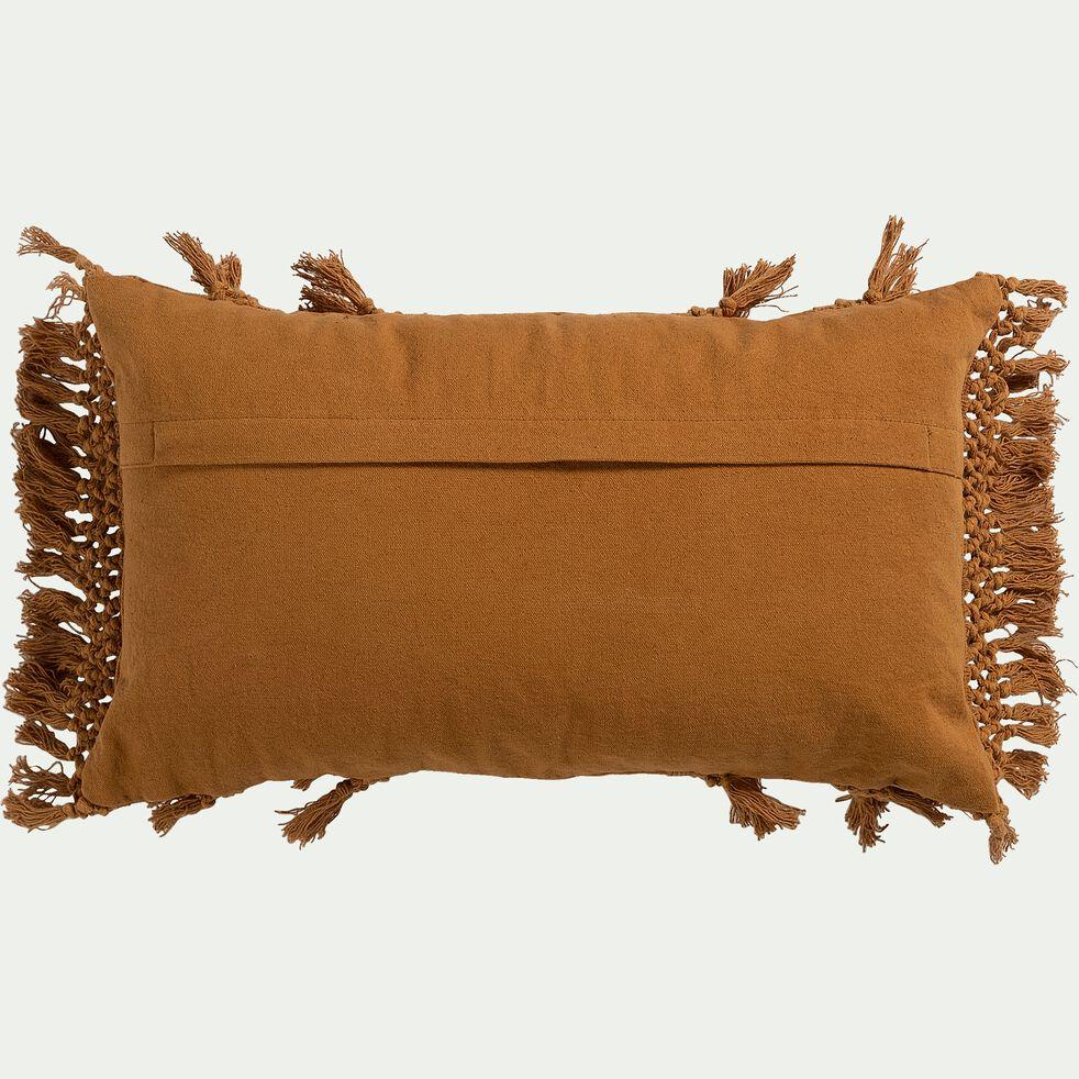 Coussin frangé en coton - jaune argan 30x50cm-ASSOUAN