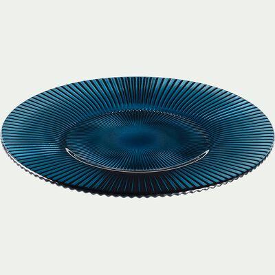 Assiette à dessert en verre strié bleu D22,5cm-SPLENDIDE