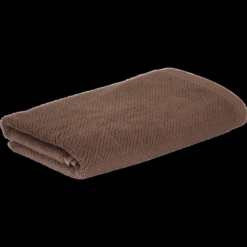 Serviette en coton bio  50x90cm brun châtaignier-COLINE