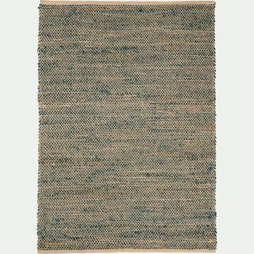 Tapis tressé en jute - naturel et vert 160x230cm-AARON