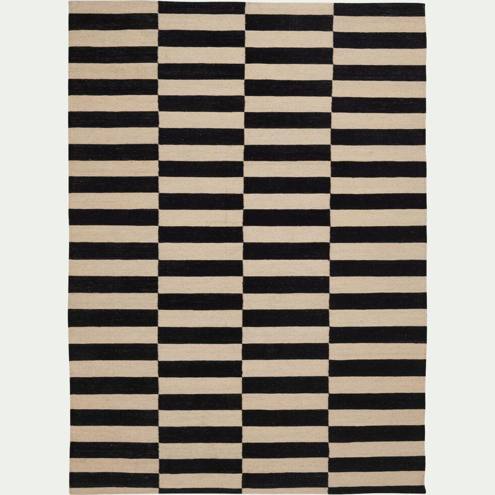 Tapis à motifs en laine - noir 150x200cm-KOTA