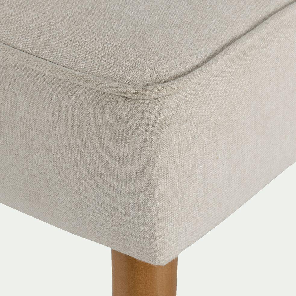 Pouf en tissu avec pieds en bois beige roucas-LOUIS