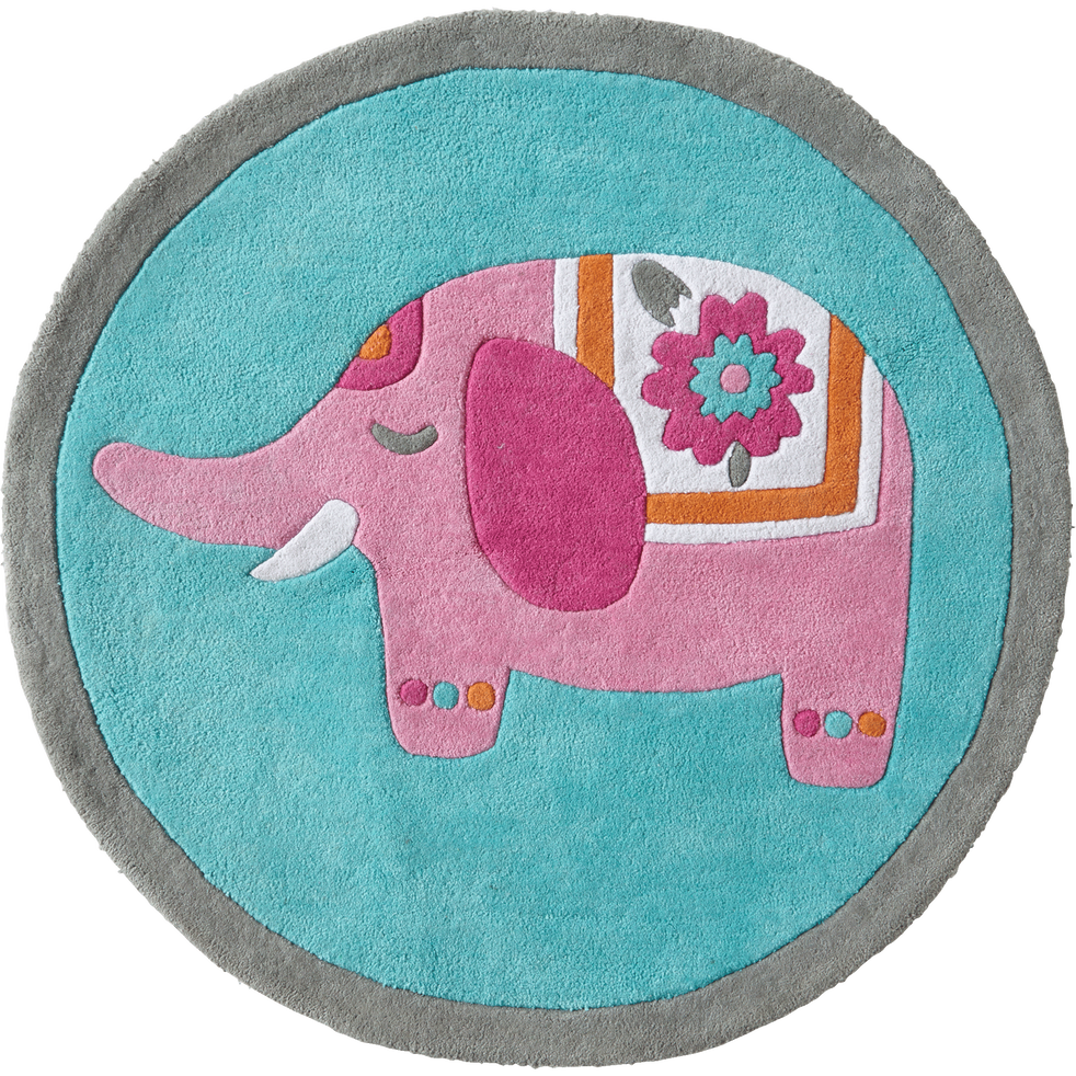 Tapis rond pour enfant D80cm motif éléphant-INDIE