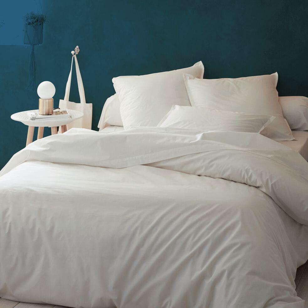 Housse de couette en percale de coton - blanc ventoux 240x220cm-FLORE