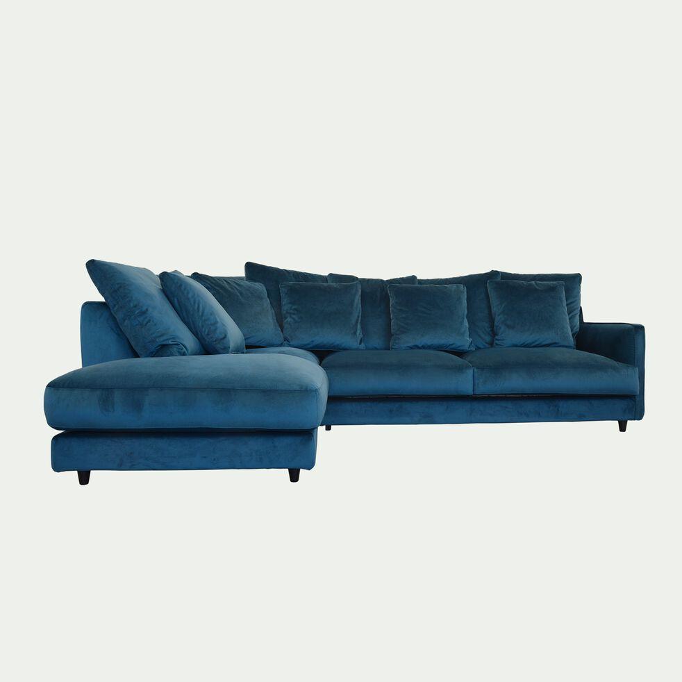 Canapé d'angle gauche convertible en velours - bleu figuerolles-LENITA