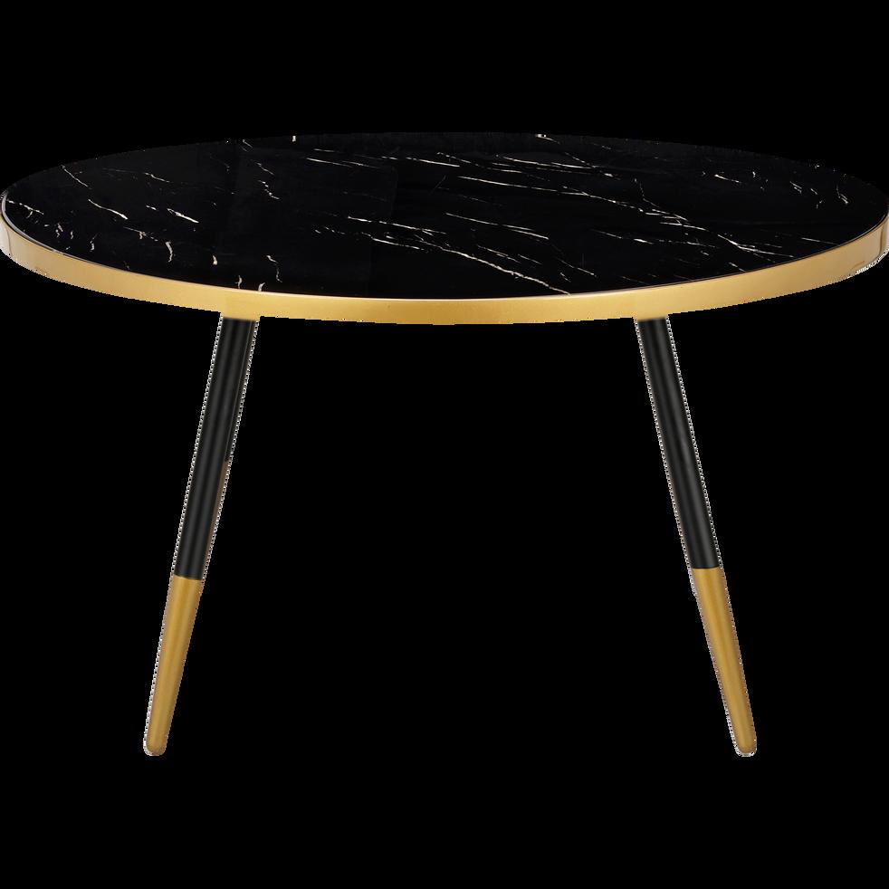 Table basse effet marbre noir et doré-MARTI