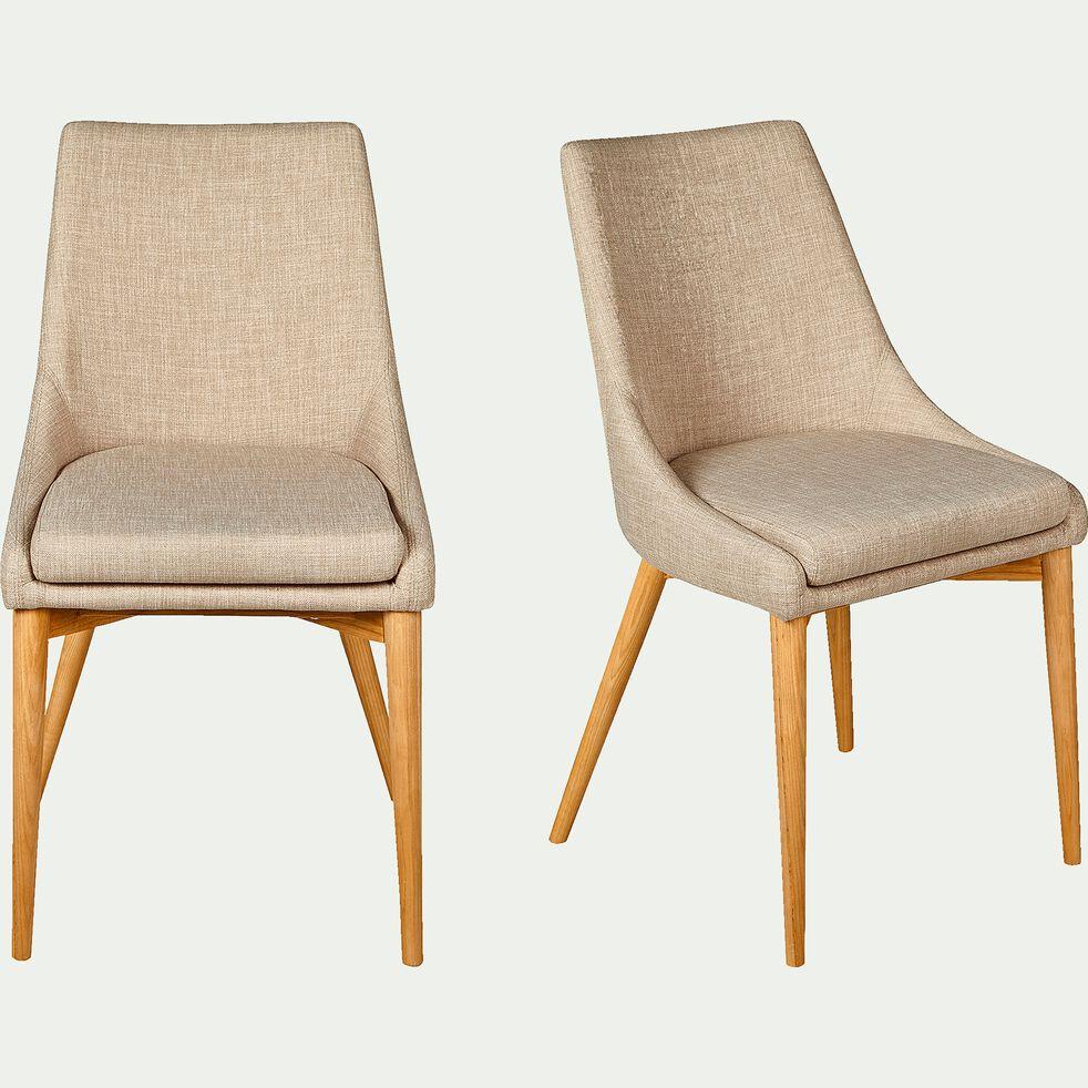 Chaise en tissu beige piètement bois-ABBY
