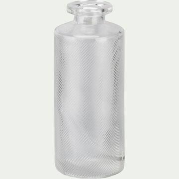 Vase bouteille strié en verre - transparent H13cm-Zante