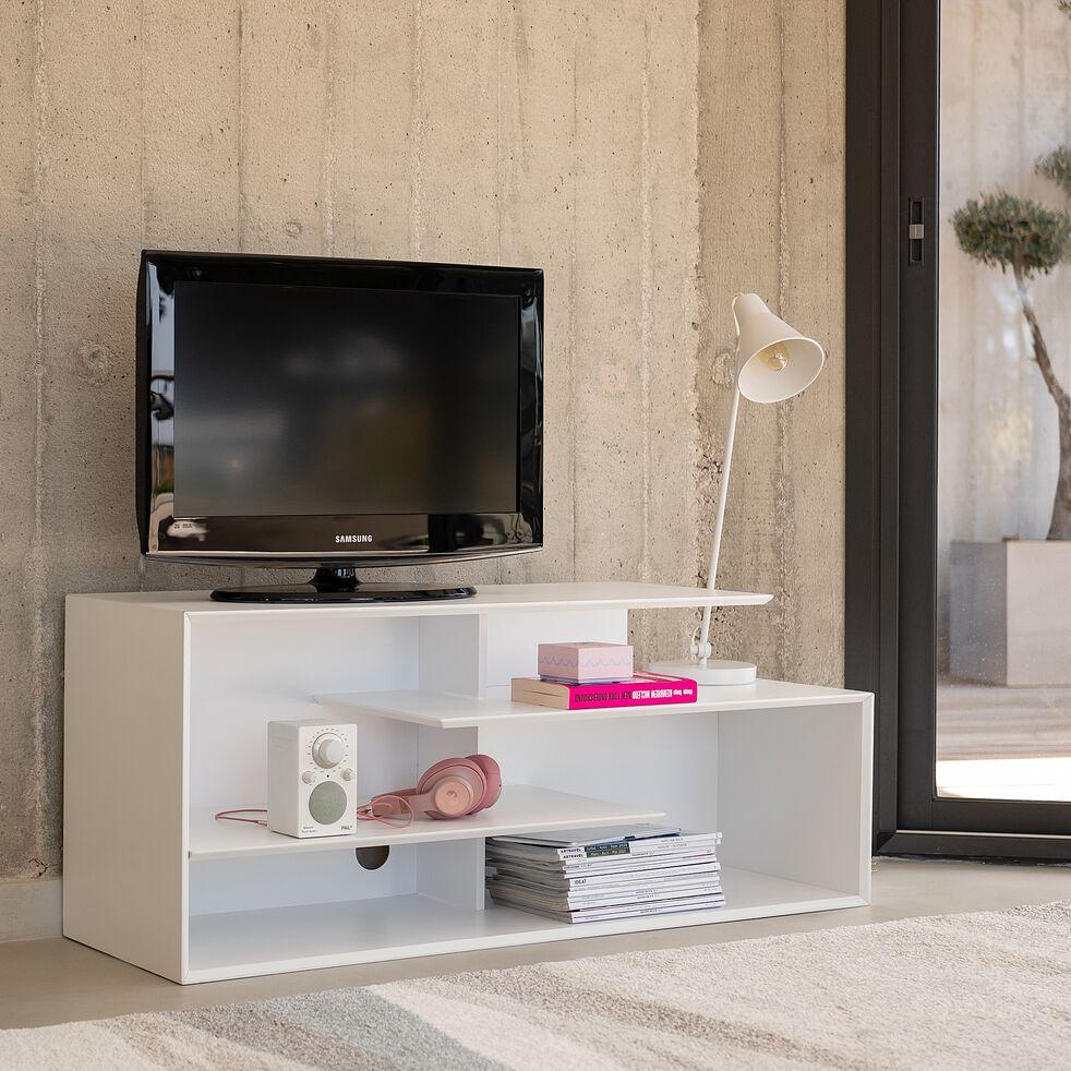 Meuble TV asymétrique en bois - blanc L120cm-FABRO