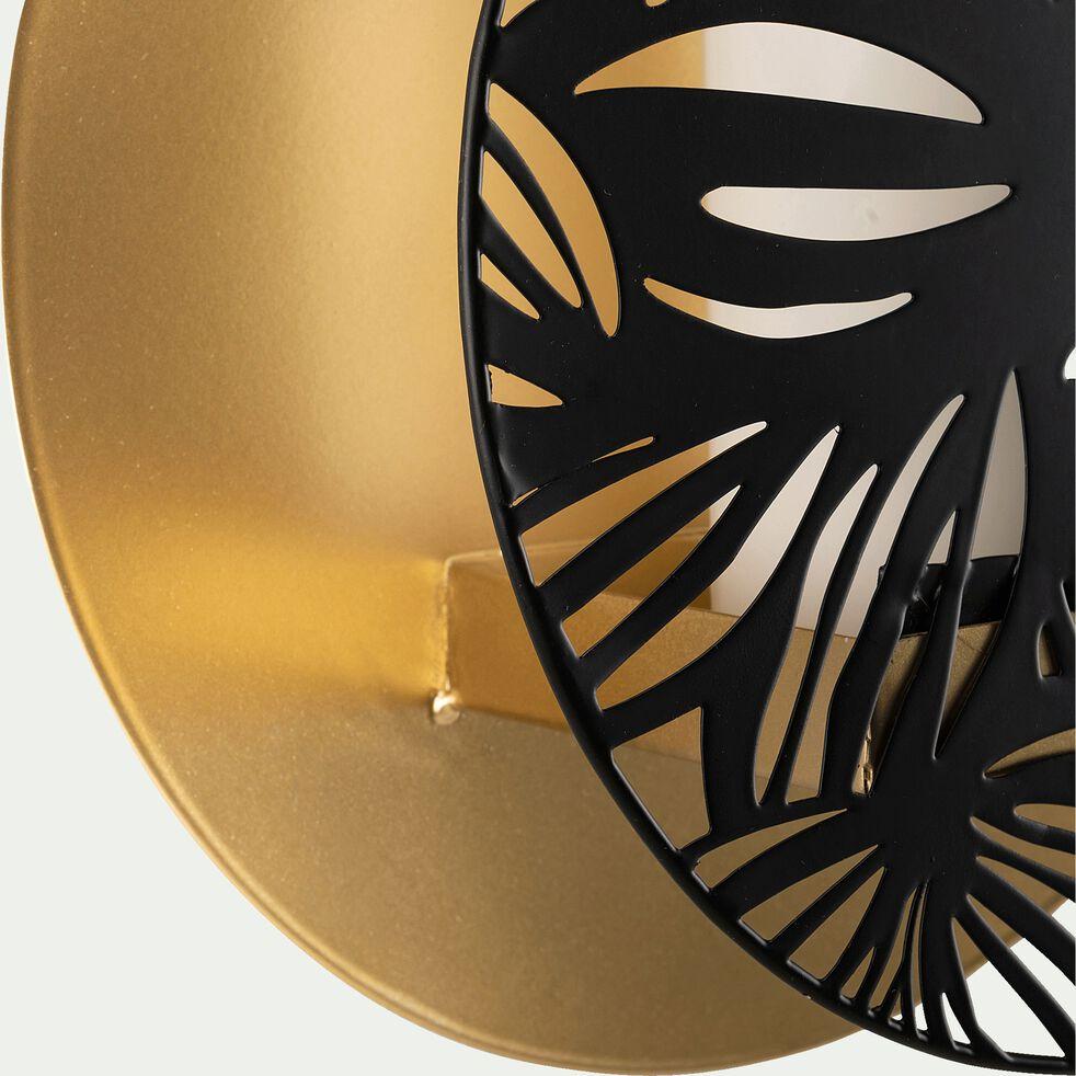 Photophore mural en métal - noir et doré D25cm-NOUA
