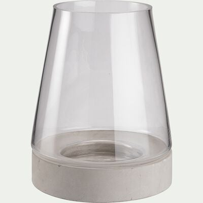 Vase en verre et socle en ciment - gris D17xH22cm-CIMEA