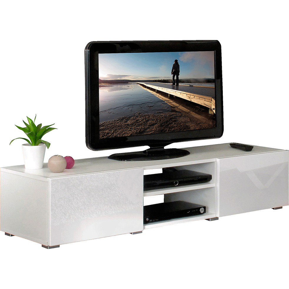 Meuble Tv Blanc Laque 2 Tiroirs 1 Niche Simple L140cm Mino