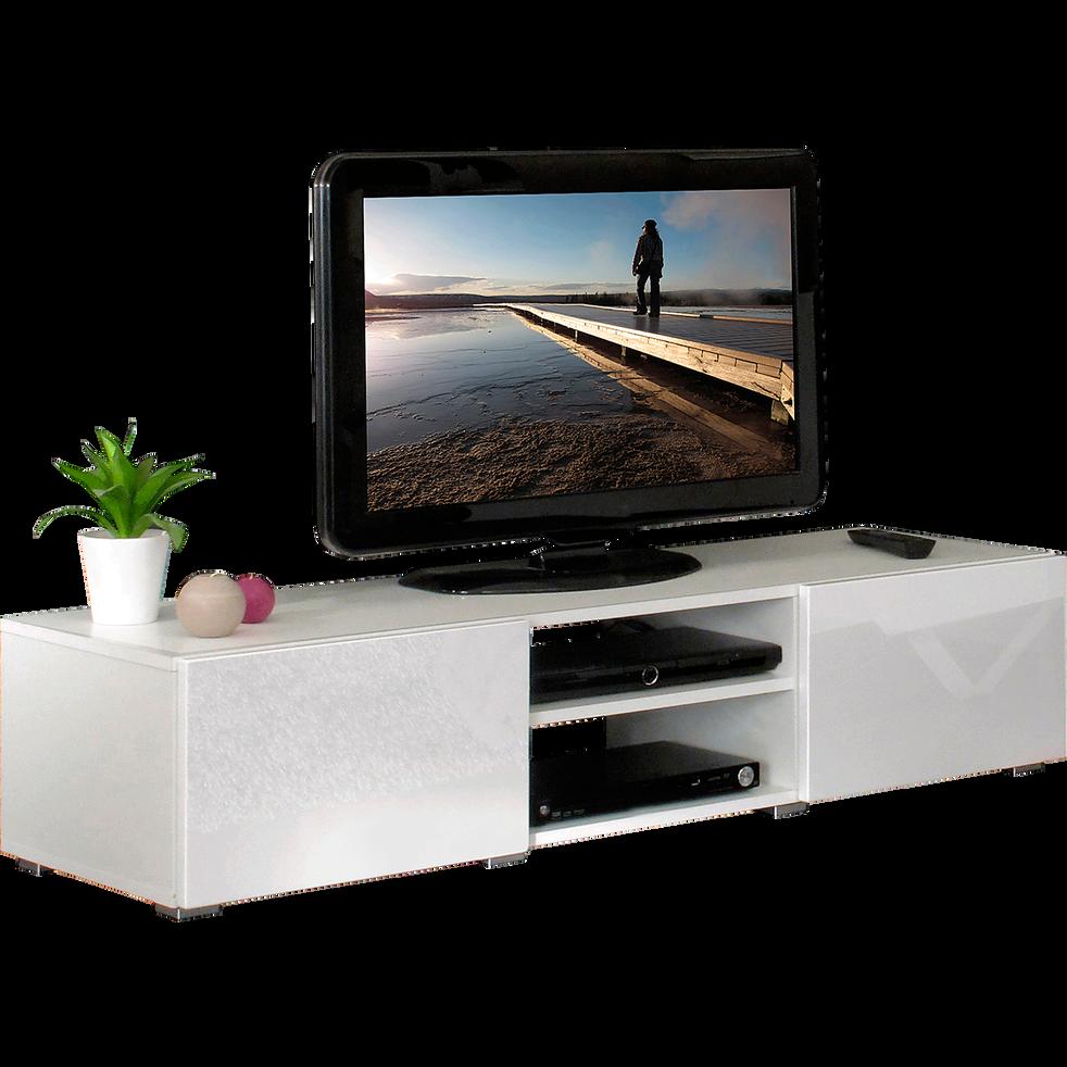meuble tv blanc laqu 2 tiroirs 1 niche simple l140cm mino meubles tv alinea. Black Bedroom Furniture Sets. Home Design Ideas