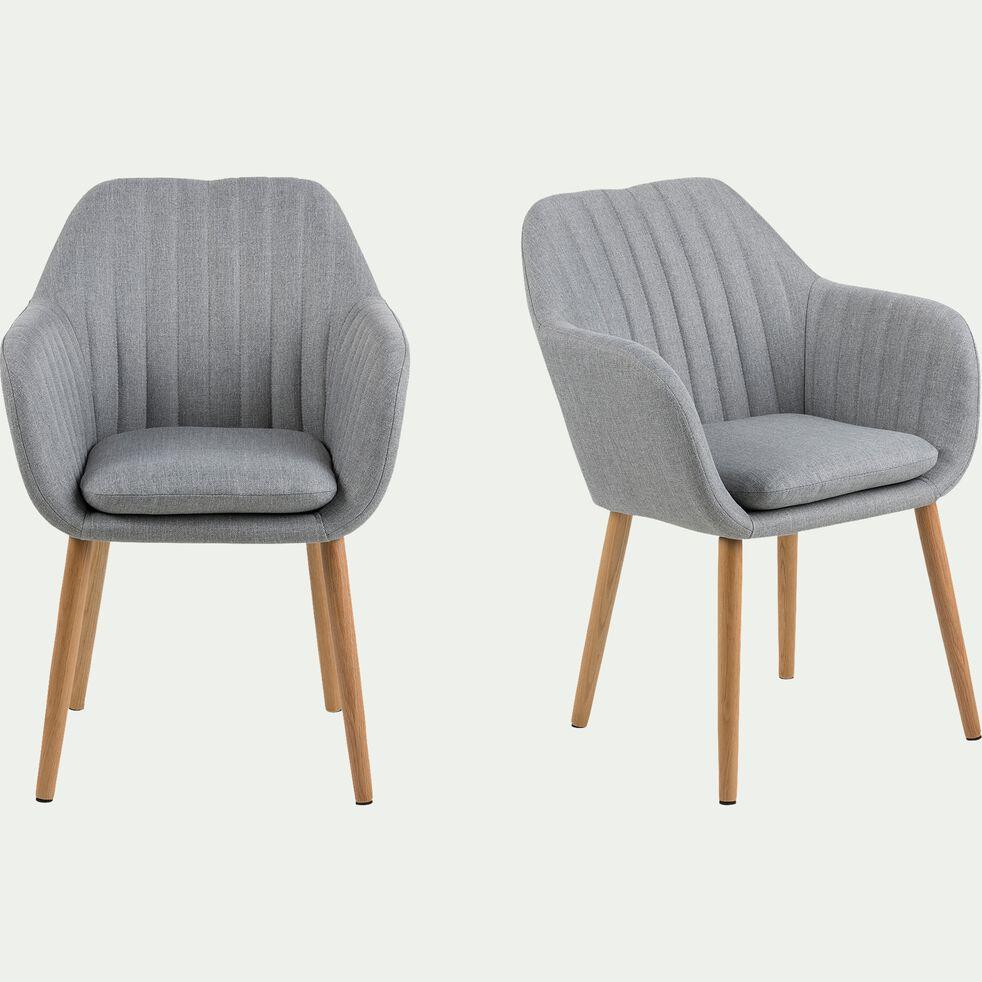Chaise capitonnée en tissu avec accoudoirs - gris clair-SHELL