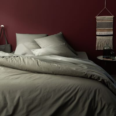 Linge de lit en coton vert cèdre-CALANQUES