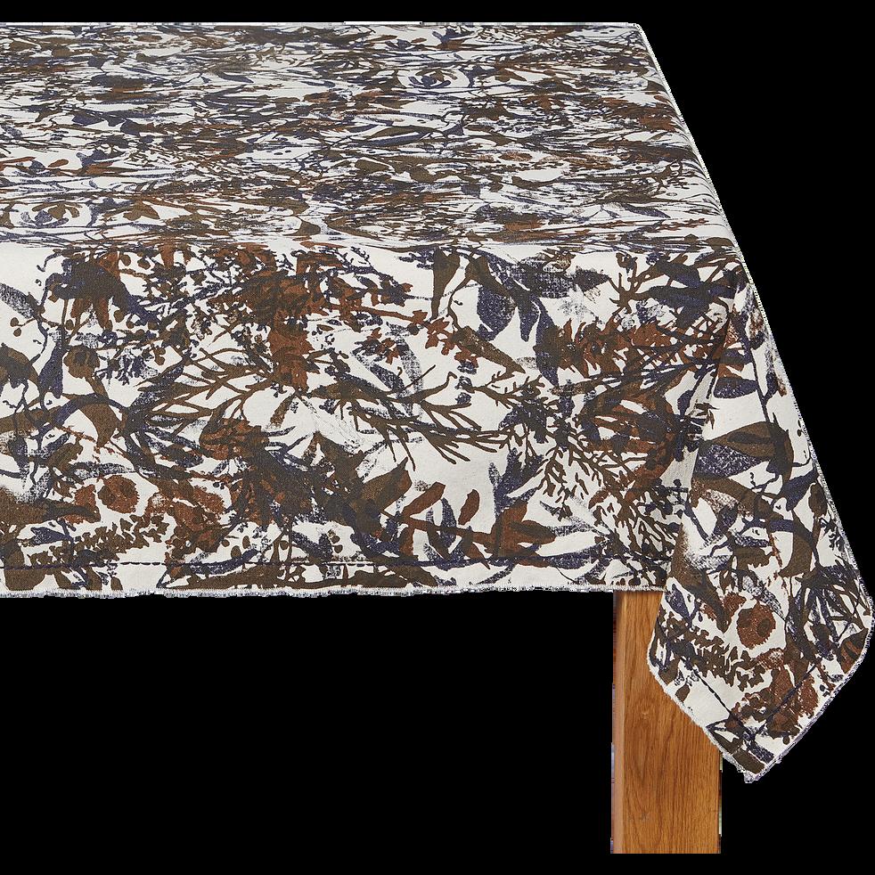 Nappe en coton brun ombre 170x250cm-EIGARELLA