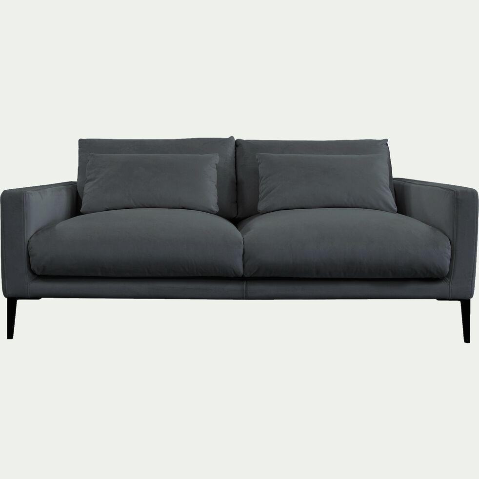 Canapé 3 places en velours - gris restanque-SOZY