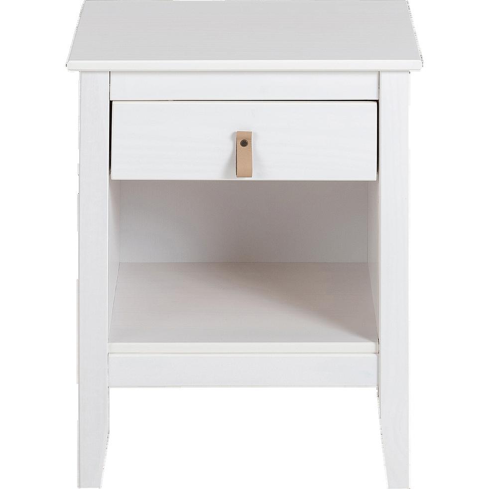 Chevet 1 tiroir avec structure et façade en pin massif blanc-LISON