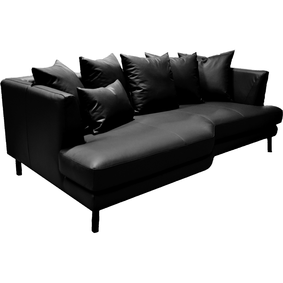 Canapé 3 places fixe gauche en cuir noir calabrun-TESSOUN